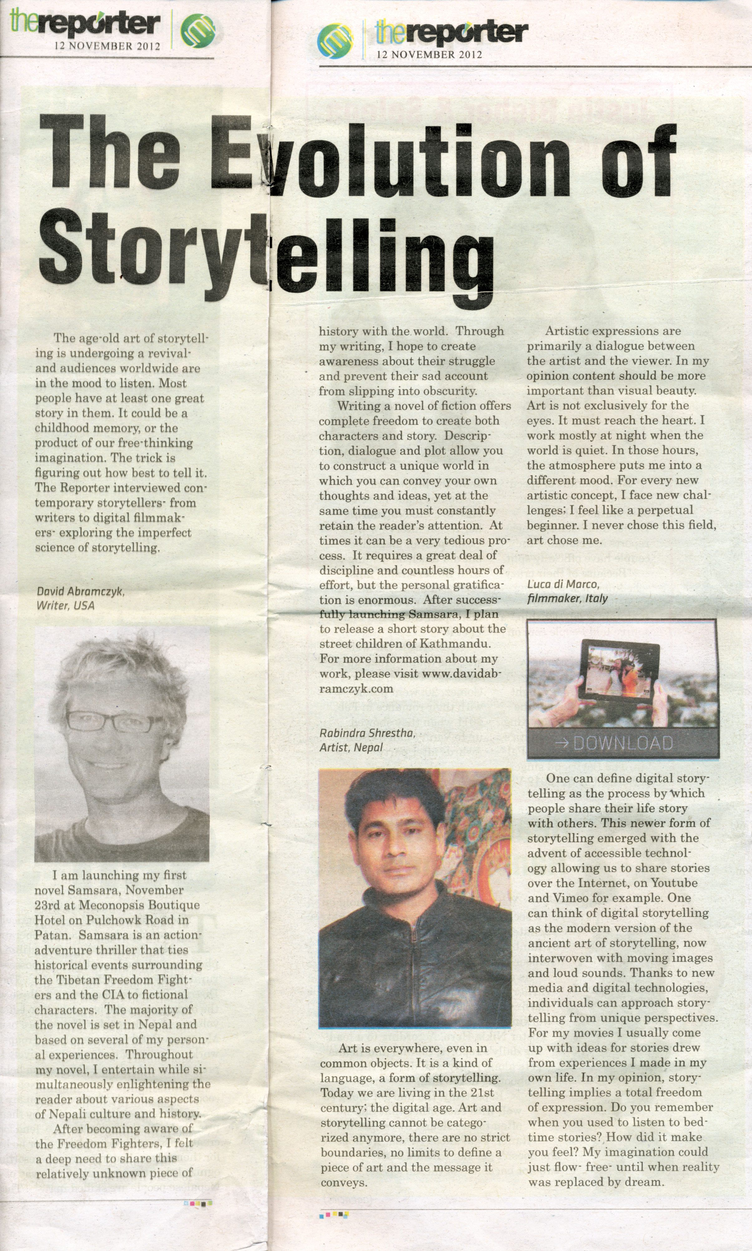 """""""Evolution of Storytelling"""" as featured in The Reporter Magazine"""